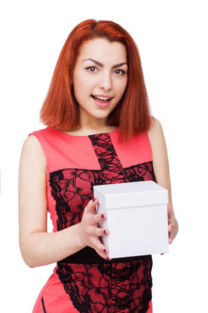 exciting: Young woman portrait exciting to receive gift