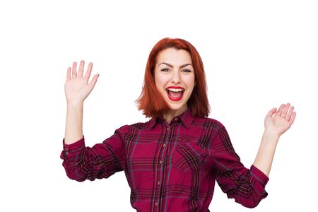 exciting: Happy young woman very exciting isolated on white background