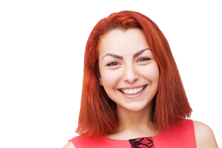 red head woman: Close-up portrait of red head woman with bright smile