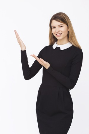 succesful: Advertisment. Young succesful businesswoman.Woman in dress show copyspace Stock Photo