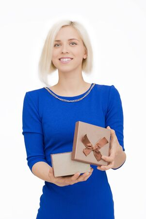 opening gift: Young woman portrait happy to opening gift Stock Photo