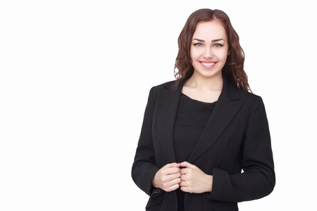 female senior adults: Young succesfull businesswoman in jacket on isolated background