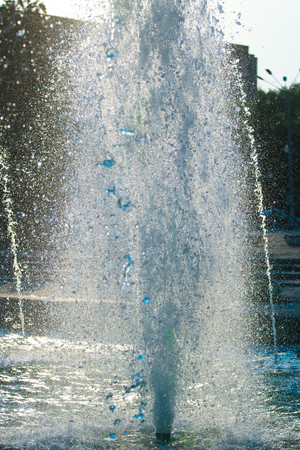gush: The gush of water of a fountain