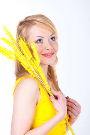 yellow dress: Young woman in yellow dress Stock Photo