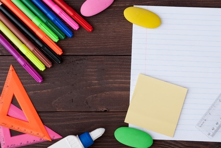 copyspace: School stationery with copyspace on wooden board Stock Photo