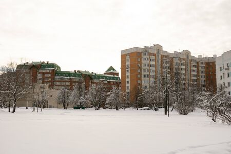 Dormitory area with residential buildings in winter. Moscow, South Butovo