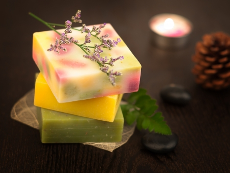 Spa setting with natural soaps photo