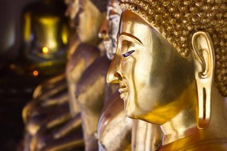 face image of buddha, what po, bangkok, thailand Stock Photo