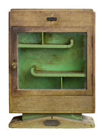 old medicine cabinet isolated on white background