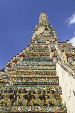 Statue of giant in the temple of Wat Arun, in Bangkok Thailand.