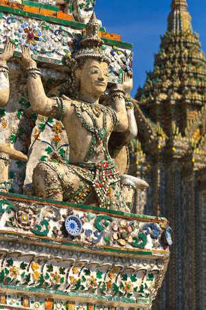 Statue of giant in Wat Arun, in Bangkok Thailand.