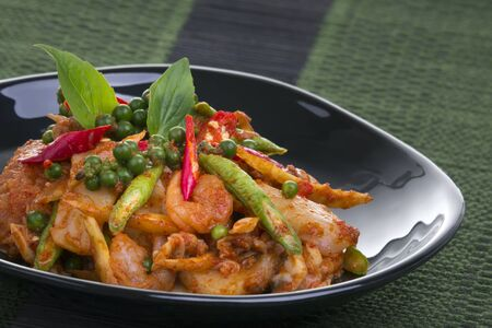 Fried herb vegetables with seafood, Thai food Stok Fotoğraf