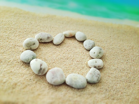 heart on the sand of the beach