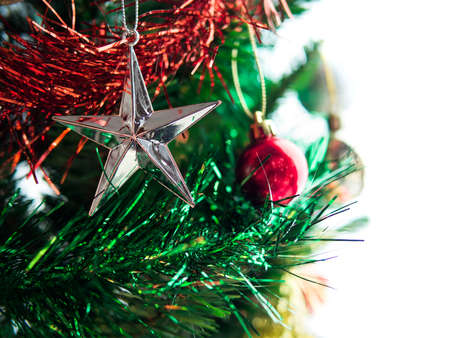 Christmas decorations on tree, isolate background.