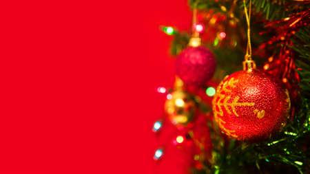 Christmas tree on red background. Stok Fotoğraf