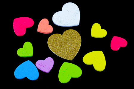 Heart of gold many colors Black background