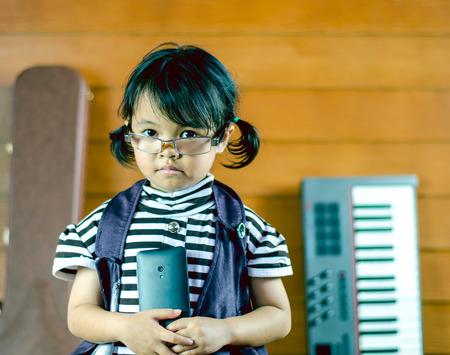 Little girl asia  on the floor