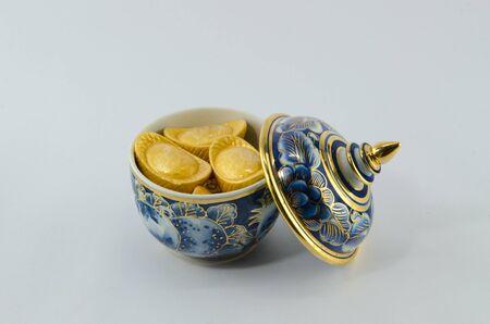 Gold ingot  Chinese on Benjarong White background