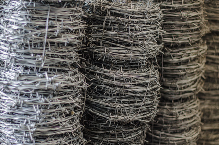 barbed wire roll  close up