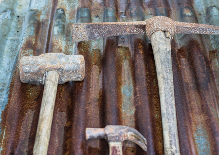 Hammers on zinc background