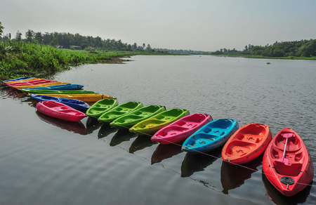 Kayaks in river Colorful plastic boat
