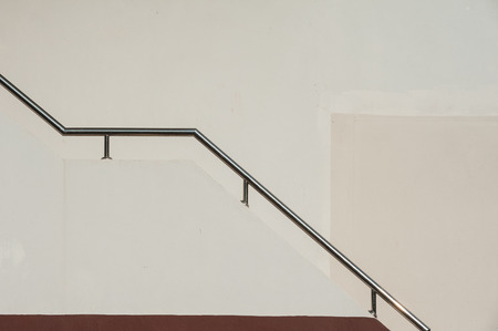 metal handrail: Stainless steel railing way up the building.
