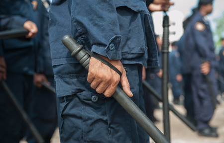 insurrection: police Training in the use of batons to control crowds. Stock Photo