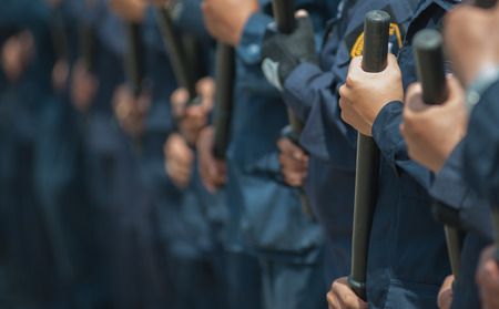 police Training in the use of batons to control crowds. 写真素材