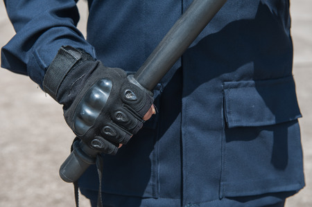 authoritarian: police Training in the use of batons to control crowds. Stock Photo