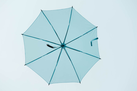 Streets are decorated with colorful umbrellas. Stock Photo