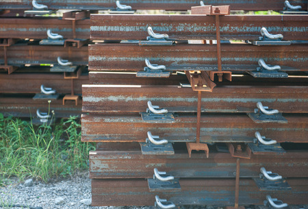 Railway sleepers made of cement Stock Photo