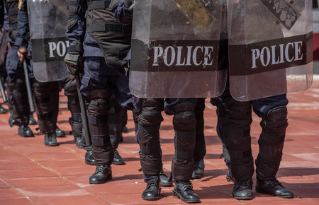 Riot police coaches review crowd control