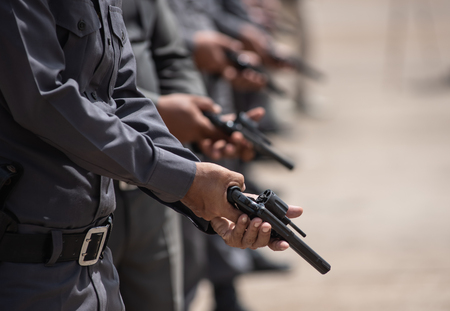 Police tactical firearms training outdoors. Stock Photo