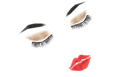 make up model: Beauty icon with long lashes and eyebrows with lip closeup Stock Photo