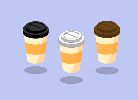 Collection of coffee type and package for drinks with plastic covers  to take-out. Mock up template for cafe, food delivery tuck, restaurant identity , vector illustration. tuck
