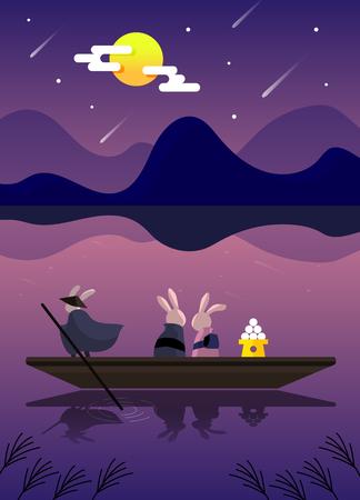 Happy Mid Autumn Festival with full moon and rabbit, vector illustration. 일러스트