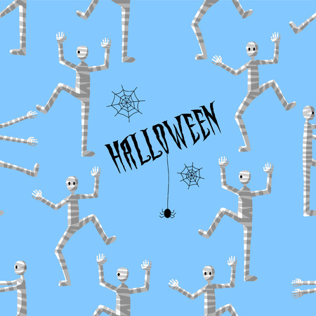 Seamless pattern art. Happy Halloween with Egyptian mummy and spiders in the dark on blue background. Use for printing on textiles, t-shirt, greeting cards, wrapping paper, posters, fabric print.