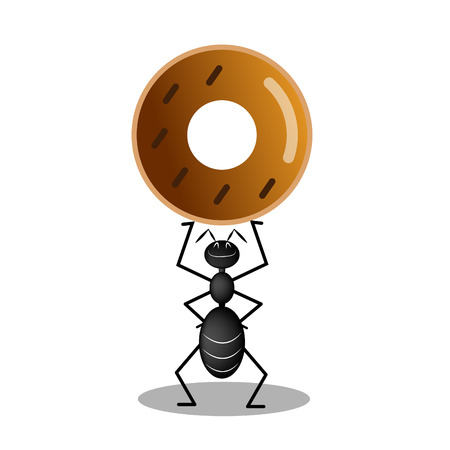 Black ant carrying a chocolate donut, illustration vector. Vettoriali