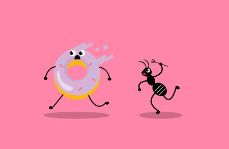 Donut run away and black ant trying to eat them, illustration vector.