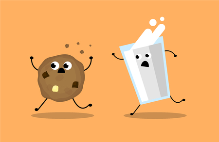Chocolate chip cookies and milk walking together, illustration vector. Иллюстрация