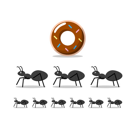 Black ants and chocolate donut,illustration vector