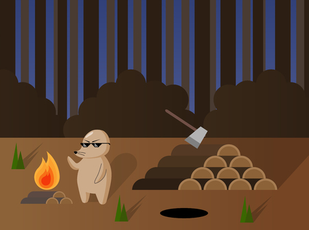 Cute cartoon mole with campfire and pile of firewood for the winter in the forest. Vector illustration.