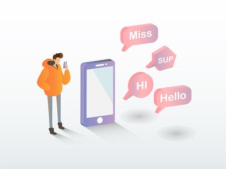 Jeune homme utilisant un message de conversation sur smartphone avec texte, mademoiselle, salut, bonjour. Concept d'application mobile, illustration vectorielle.