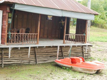 waterless: Old Raft Waterless Dry Boat Stock Photo