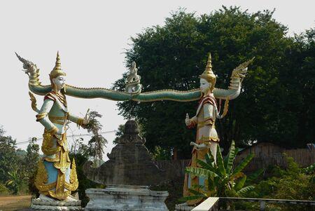 gods: Two Gods And Naga River Stock Photo
