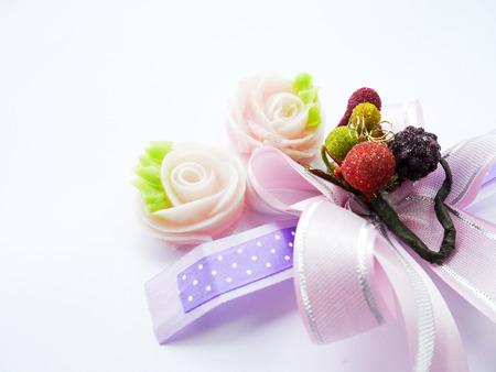 ribbin: Valentines Day, Thai Dessert And Ribbin Stock Photo