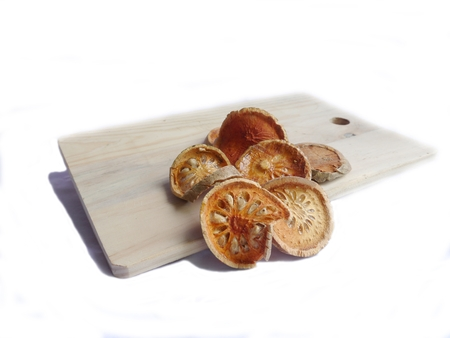 quince: Isolate, quince dry on wood  block