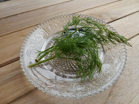 dill in the glass dish