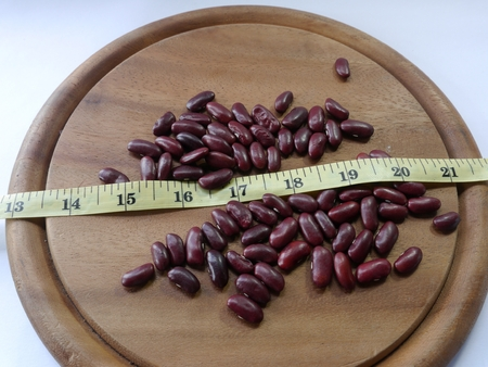 red bean: Measure distance and red bean Stock Photo