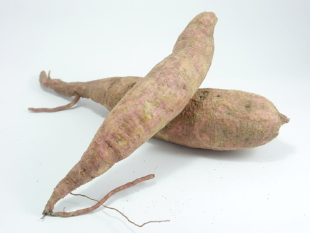 admixture: Yams on white background, vegetable